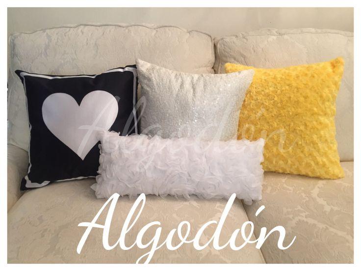 Cojines estampados ⚜ negro blanco y amarillo combinaciones