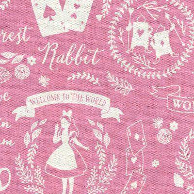 Alice in Wonderland Pink - Cotton Linen Mix