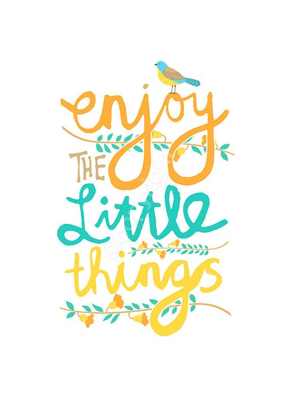 Enjoy The Little Things - 8x10 inch print featuring pretty flowers and hand drawn type