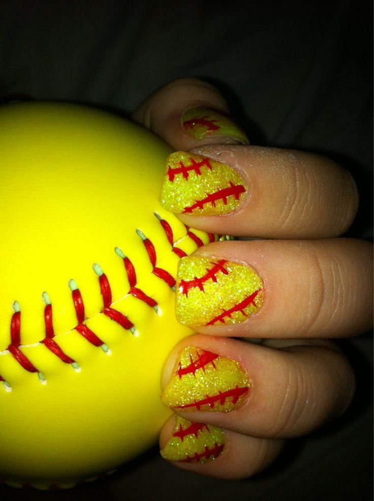 softball nails i have to do this for softball season - 25+ Best Softball Nails Ideas On Pinterest Baseball Nail Designs