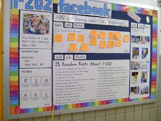 fifth grade classroom theme ideas | This is a facebook bulletin board outside a fifth grade classroom.