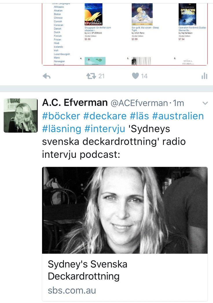 """Sydney's Swedish queen of crime fiction"" Radio interview with Swedish crime fiction author A.C. Efverman. ""Sydneys svenska deckardrottning"" radio intervju med svenska deckarförfattaren A.C. Efverman (på svenska)."