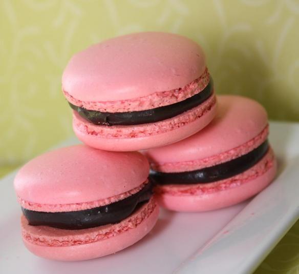 Raspberry Dark Chocolate Macaroons. These look heavenly.
