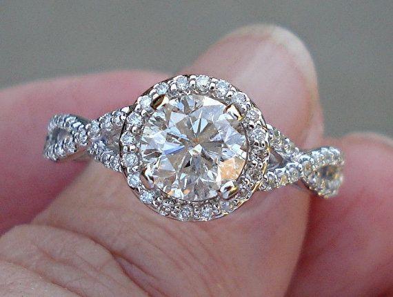 Runde Diamanten Halo Diamant Solitär Ring 1,26 Carat Diamond Solitaire-Verlobungsring - 14K White Gold