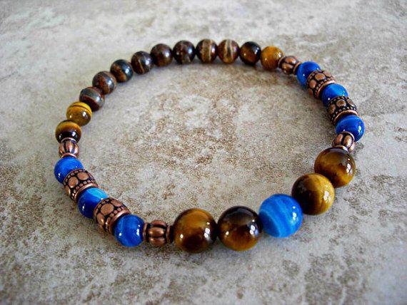 Blue Agate, Tiger Eye, Retro Agate, Antique Copper Accents Men's Bracelet, Unisex Bracelet