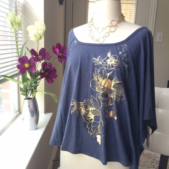 💟Unique wide sleeve slouchy top w lace inserts Heather navy colored cotton/poly blend top with wide scoop neck-can wear off shoulder or regular. 4 lace dart inserts, 2 front, 2 back. Gold rose design on front, wide unique sleeves. New with tags, size medium juniors but fits a wide range of sizes thanks to wide flowy design. Mudd Tops