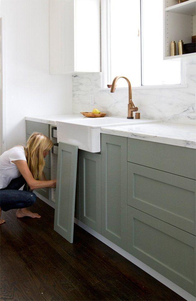 Replacing kitchen cabinets using Ikea cabinets and Semihandmade doors.  Brilliant, cost-saving idea!