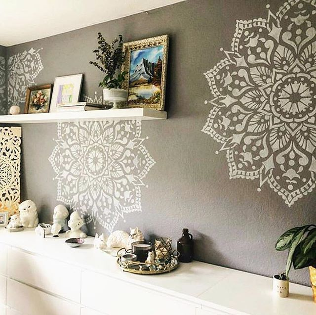 Mandala Stencil Patterns In 2020 Master Bedroom Accent Wall
