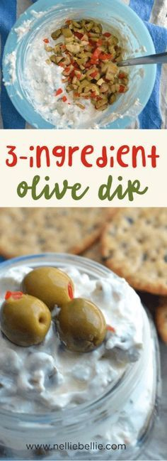 easy 3 ingredient olive dip. A great appetizer for a party! This recipe is so speedy fast you will have time for makeup and hair before the party! A great appetizer for busy moms. via @huttonjanel