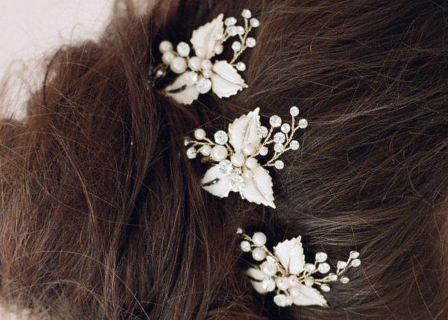 Petite enamel leaf bobby pin - Style # 405 Headpieces   Twigs & Honey ®, LLC