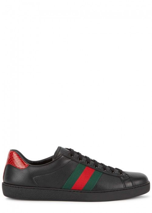 BLACK LEATHER TRAINERS. #gucci #shoes