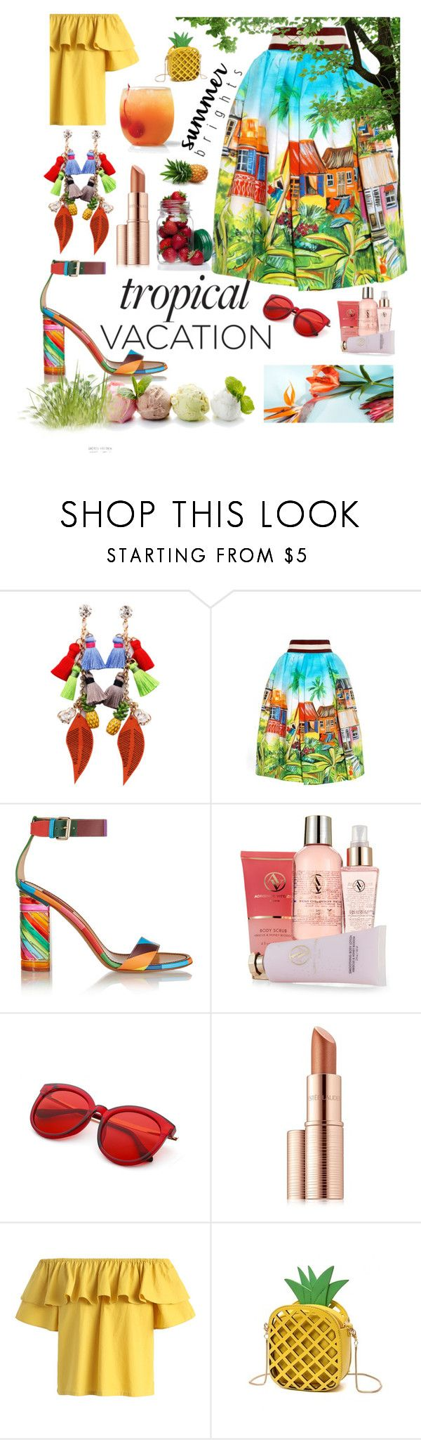 """Tropics Vacay"" by essentiallyessence on Polyvore featuring Stella Jean, Valentino, Massimo Dutti, Adrienne Vittadini, Estée Lauder and Chicwish"