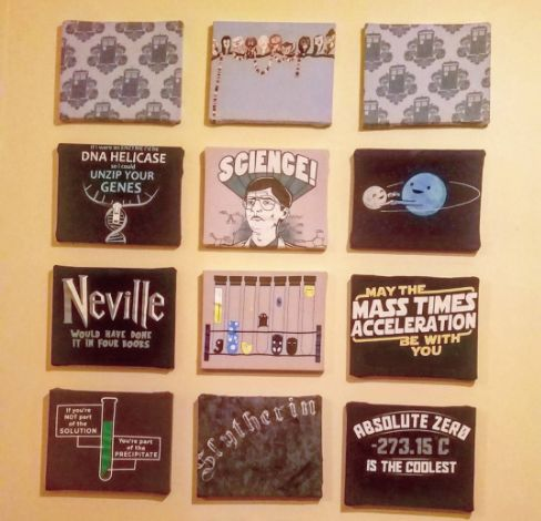 Use a small dollar-store canvas to turn a favorite old T-shirt into wall art.