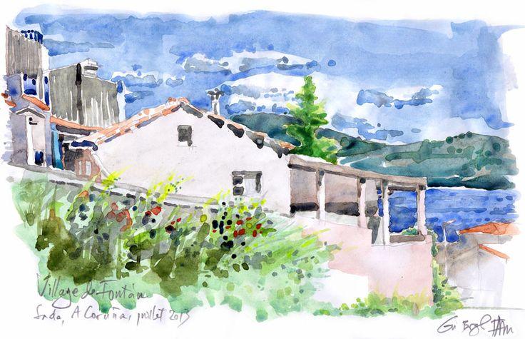 Vue du village de Fontàn, à Sada. Après une semaine de campagne, allez voir une news en guise d'arrêt sur image sur http://fr.ulule.com/carnet-galicien/news/une-semaine-est-passee-48955/