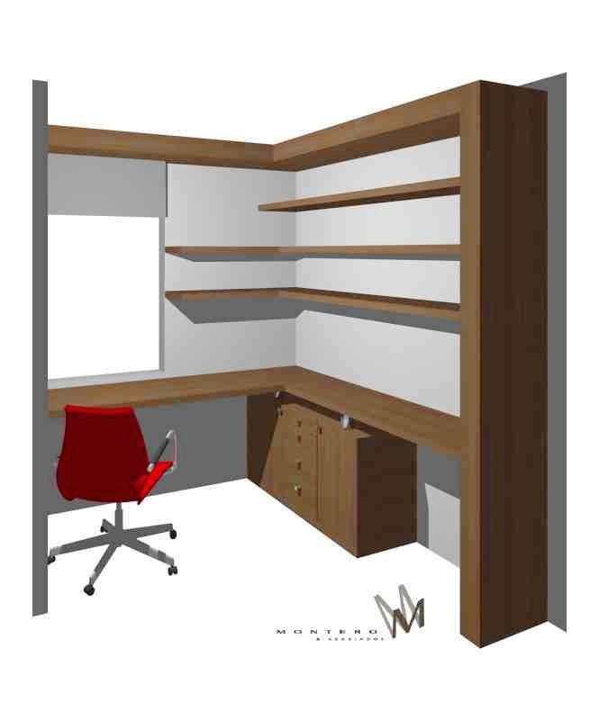 Mural escritorio para un estar a medida en www.cristianmontero.cl