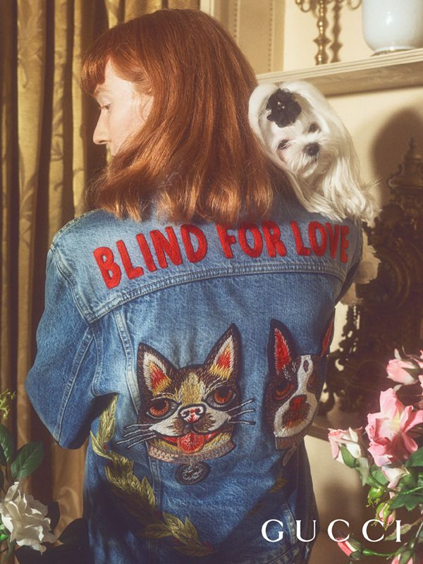 ac565162a5 A denim jacket with  Blind For Love  and embroidered dog patches inspired  by artist Helen Downie (Unskilled Worker) illustrations