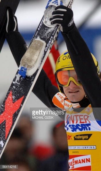 Jakub Janda of the Czech Republic after winning the large hill competition of the World cup in ski jumping in Harrachov 11 December 2005 Jakub Janda...