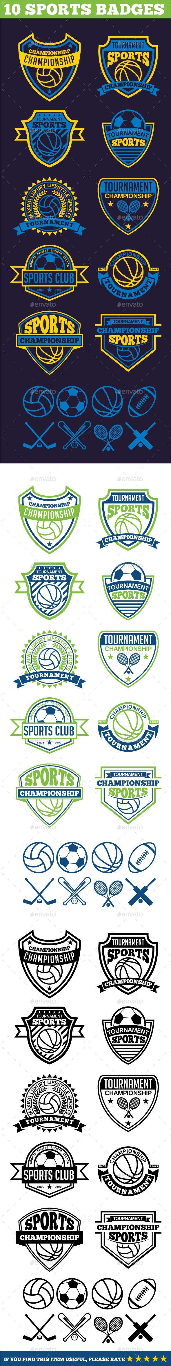 10 Sports Badges #design Download: http://graphicriver.net/item/10-sports-badges/11996659?ref=ksioks