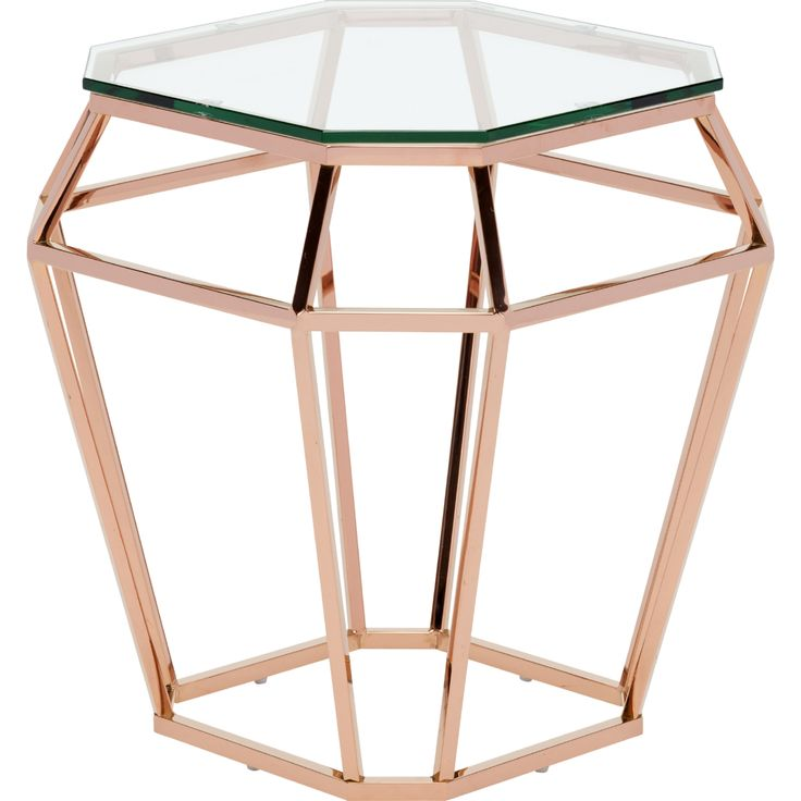 Nuevo Modern Furniture HGSX179 Diamond Side Table Rose Gold Open Diamond  Shape Base Glass Top