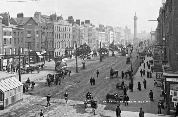 Sackville Street, Dublin, showing the Gresham Hotel and Nelson's Pillar. c1903 -1908