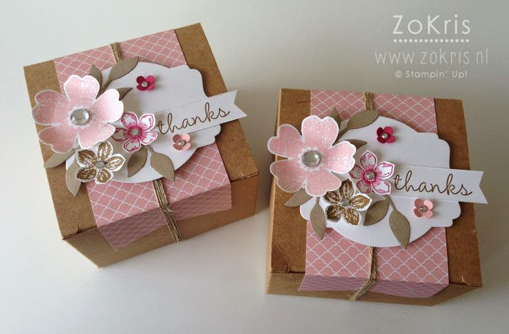 Stampin' Up! - Kraft Gift Boxes, Flower Shop, Petite Petals, Hip Hip Hooray Card Kit - ZoKris