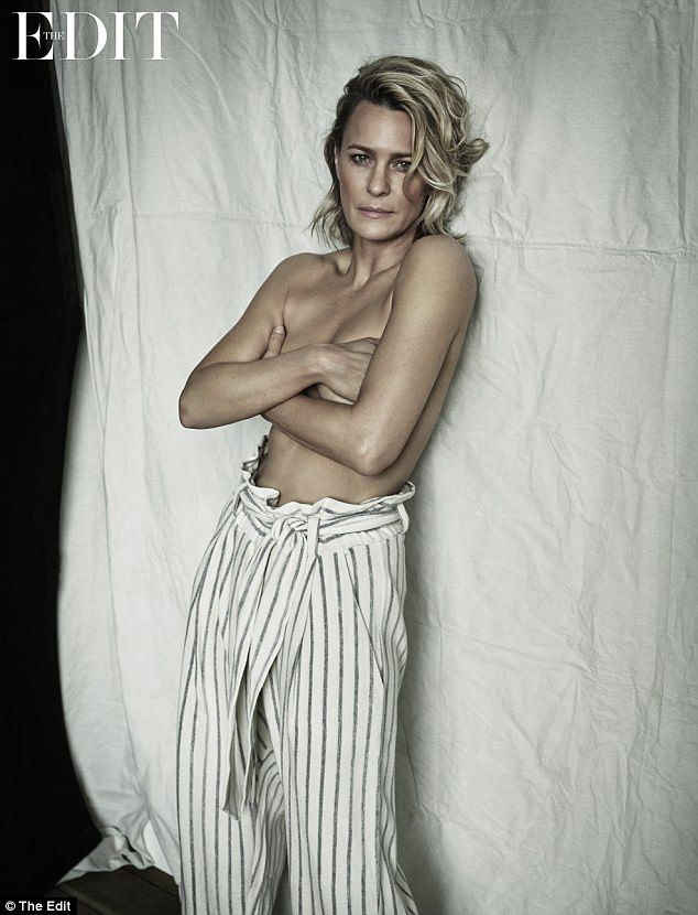 'I was told we were getting equal pay': Robin Wright, 51, reflected on the moment she found out there was a gender pay gap on House of Cards, as she posed for a saucy topless shoot