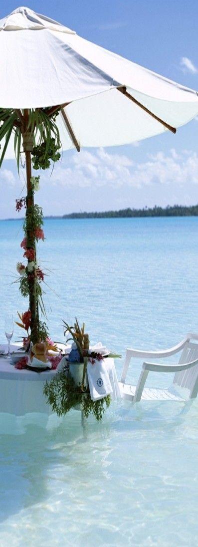 dining in the water in Bora Bora