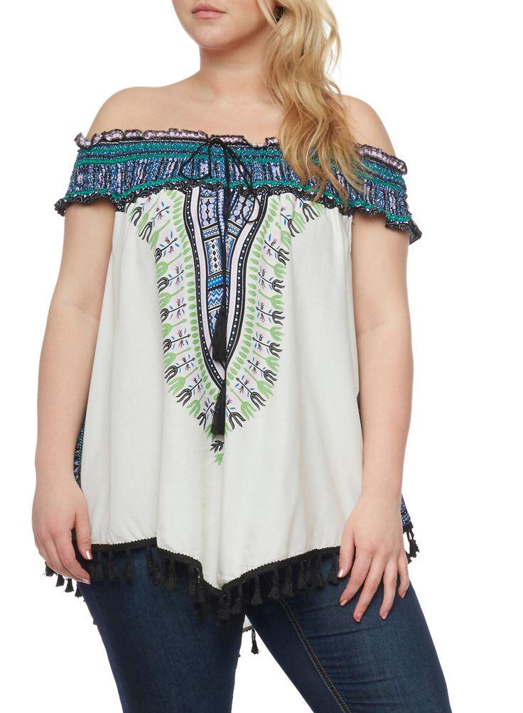 Plus Size Dashiki Print Off the Shoulder Top with Tassel Fringe,NATURAL