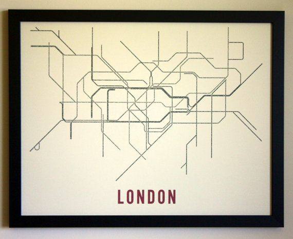 This is a typographic transit map of London's Underground system. The text is the names of the stations along each line.