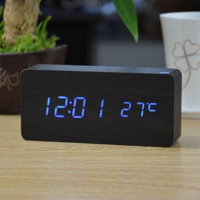 Wood Grain Led Alarm Clock Digital Table Clock Alarm Clock Digital Alarm Clock