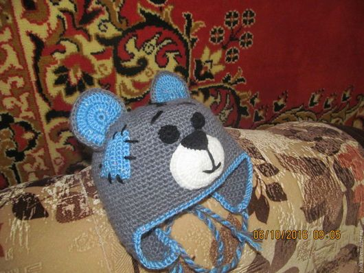 Шапки и шарфы ручной работы. Ярмарка Мастеров - ручная работа. Купить Шапочка вязаная крючком МИШКА ТЕДДИ. Handmade. Комбинированный