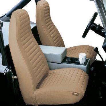 Bestop-Seat-Cover-Hi-Back-Bucket-Pair-Tan-1976-1991-Jeep-CJ5-CJ7-Jeep-Wrangler-YJ-29227-04-0