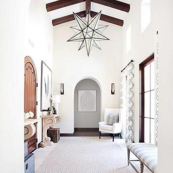 chic foyer with white walls exposed wooden beams and glass star pendant blackband design - Star Pendant Light
