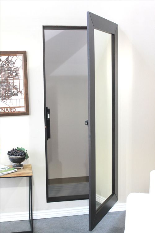 Mirror closet door fits in place of a standard door to hide the closet
