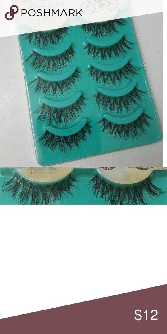LONG Wispy Eyelash Strips 5 PAIR! 5 pairs of long eyelash strips. Can be trimmed if needed. Makeup False Eyelashes