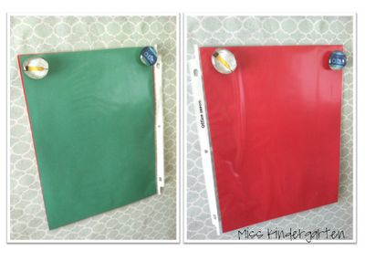 """Quick whole class and individual assessment. Red and green paper inside sheet protectors. Pass out when asking questions and students answer with the cards. Wonder if this would work by tearing apart a photo album in order to use smaller """"protectors"""" instead of an entire sheet."""