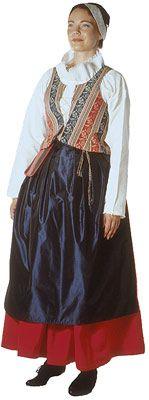 Traditional Finnish folk costume, a woman´s dress representing the region of Kuhmoinen.
