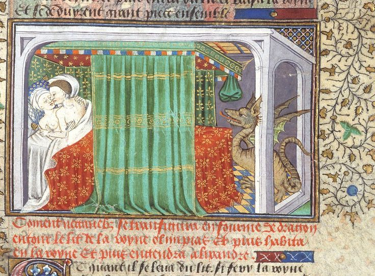 dragon in the bedroom  (conception of Alexander the Great)  'Talbot Shrewsbury book', Rouen 1444-1445.  BL, Royal 15 E VI, fol. 6r