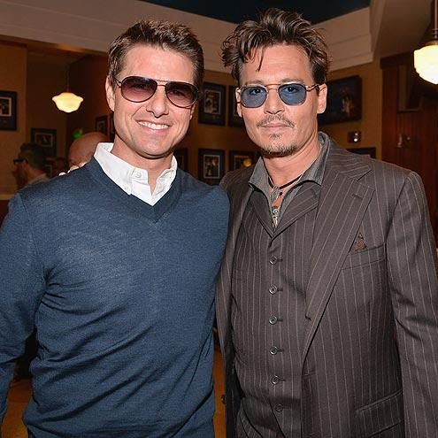 Tom Cruise and Johnny Depp sport complementary smiles and sunglasses while stepping out in support of producer Jerry Bruckheimer, who received a star on the Hollywood Walk of Fame. http://www.people.com/people/gallery/0,,20711793,00.html#21351073