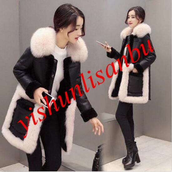 Women Cashmere Mid- Lengthtrench Coats Fur Lined Sheep Leather Jackets Parka