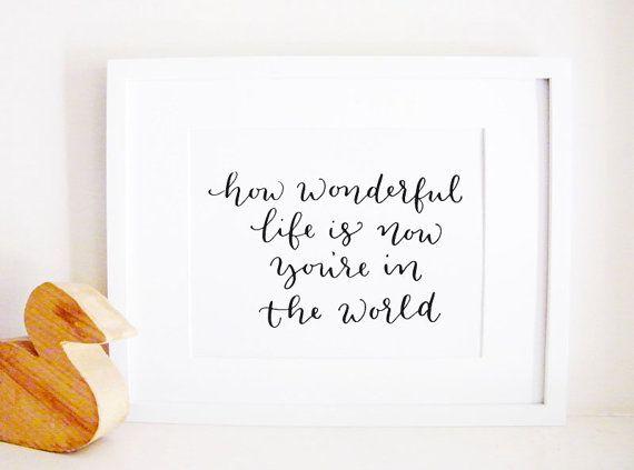 How Wonderful Life Is Nursery Art Print by leenmachine on Etsy