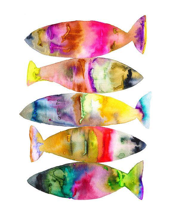 Lámina peces acuarela.