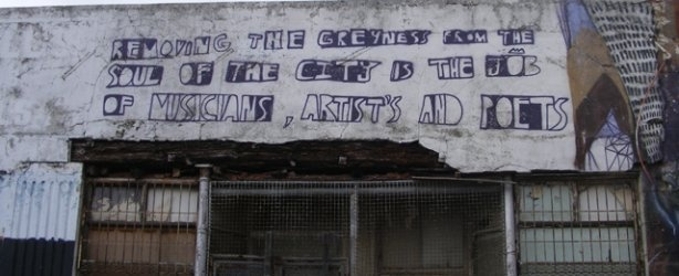 Musicians and poets become street artists in Cape Town.