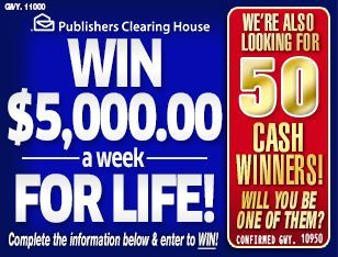 PCH $5,000 a week for life contest 2018  Publishers Clearing