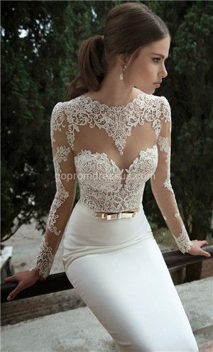 lace wedding dress: SALLY: omg! obsessed with the lace top... hope the bottom is a mermaid  tulle poof.