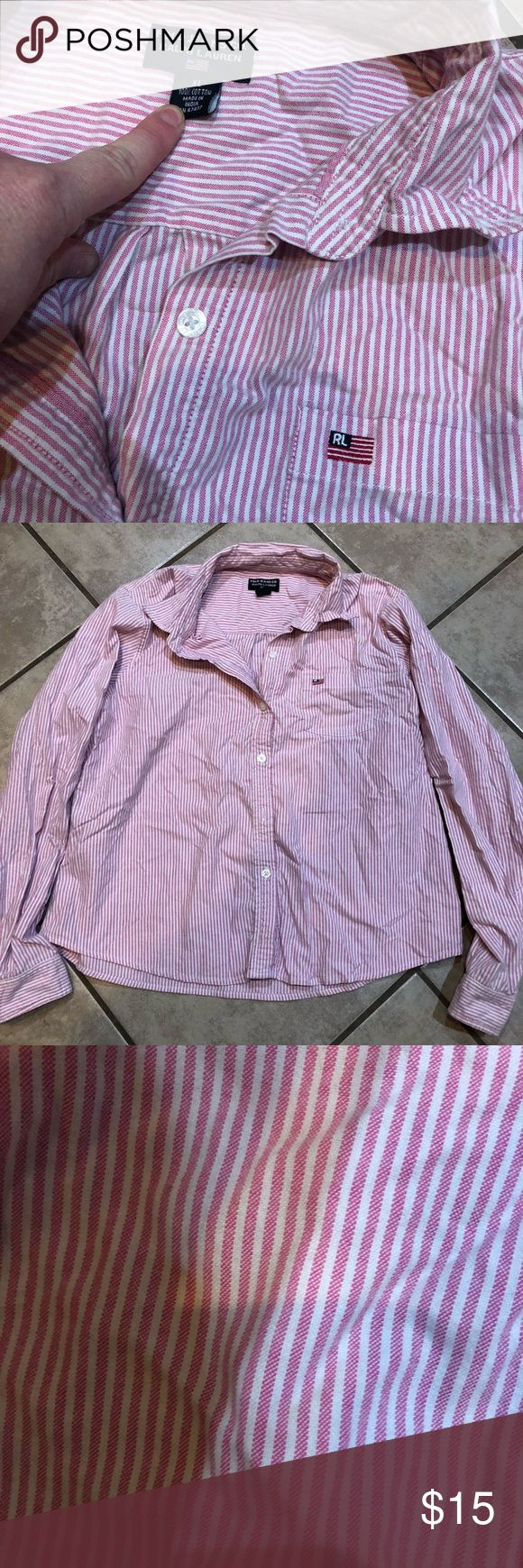 Cute ladies pink and white Polo shirt 😊 Cute pink and white stripe , button down Polo shirt . Excuse the wrinkles , super cute with jeans or pants . Size xl , runs small . Polo by Ralph Lauren Tops Button Down Shirts
