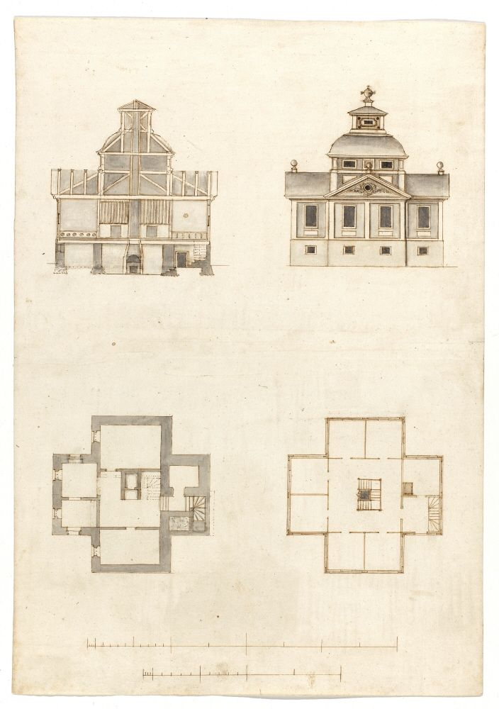 Byggnadsritning, 1600-tal. Construction plan, 17th century.
