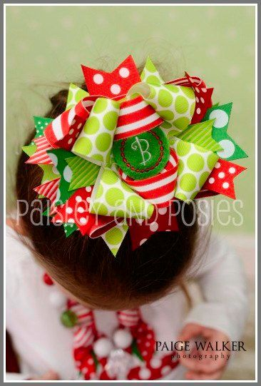 Items similar to Christmas Grinch-Inspired Over the Top Personalized Boutique Bow with Headband on Etsy