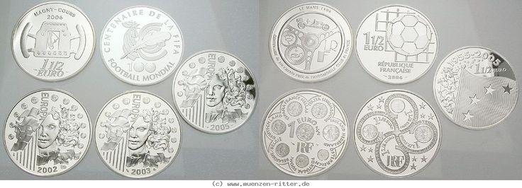 RITTER Frankreich, 5x 1,5 Euro 2002-2005, Währungsunion, Euro, FIFA, Le Mans, PP #coins