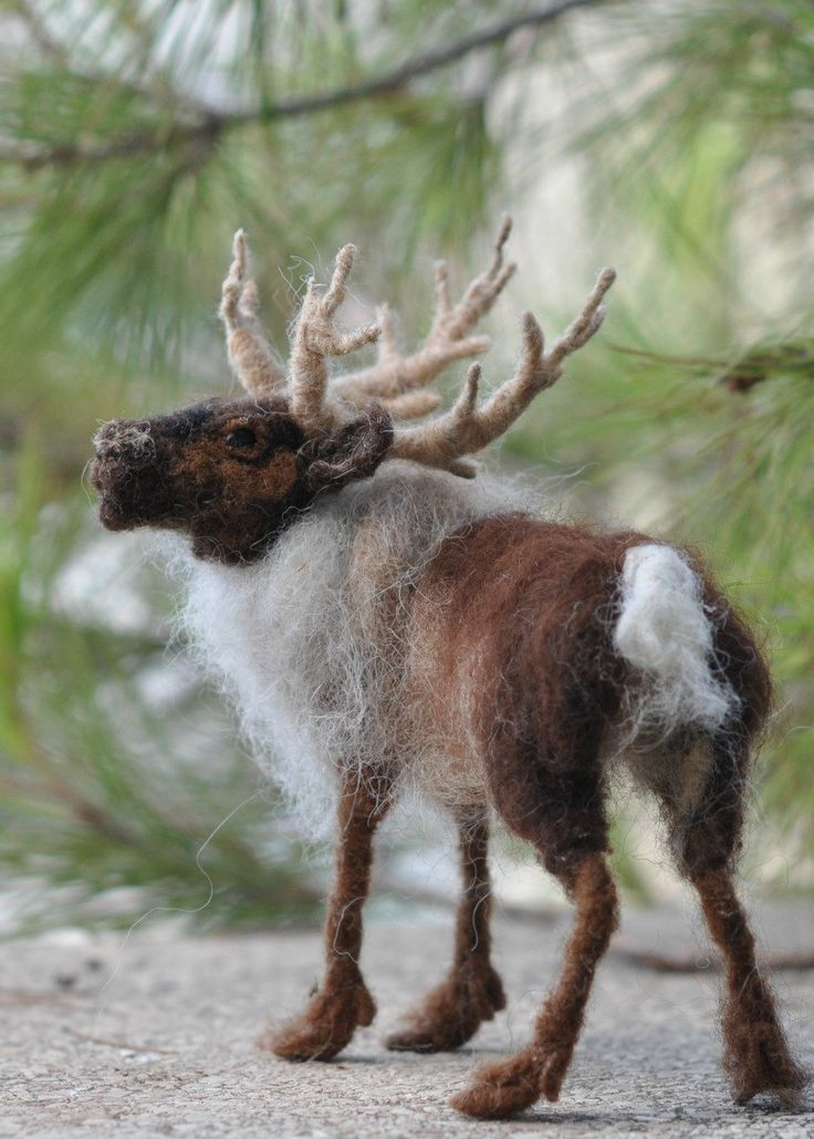 Needle Felted artist reindeer/OOAK Collectible artist animals/Needle felted soft sculpture/ Needle felt by Daria Lvovsky. $112.00, via Etsy.